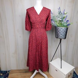 Eshakti Red Floral Puffed Sleeve Midi Dress